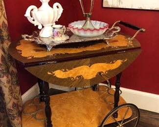 Gorgeous Tea Cart!  Victorian Glass Epergne