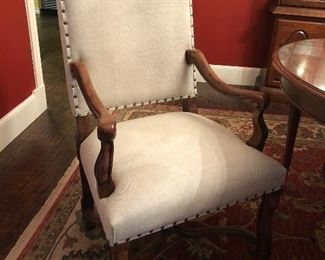 Set of 6 Dining Chairs -linen with nail head trim