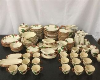 Lot 39 - 144 pc of Franciscan earthenware Apple pattern dishes (a few non marked) incl. tea set, bowls, +