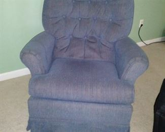 Blue cloth recliner