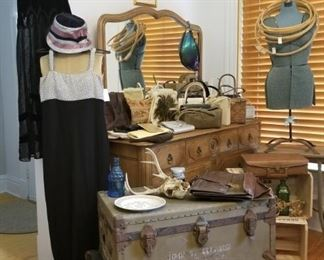 Vintage dresses, hats, bags & cases. Trunks, dress form, needlework supplies