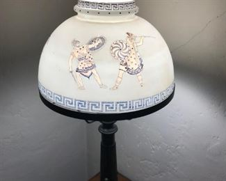 Interesting antique lamp with roman scene shade