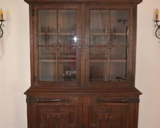 Amazing handmade Oak Cabinet - Wrought Iron Hinges, carved top, must see to appreciate .  A great piece you could design an entire room around  $1000