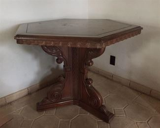 Six Sided Heavy Walnut Table - Detailed Carving - Heavy  - Must see to appreciate - $150