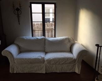White Sofa with down cushions - Excellent condition - Cover removable for cleaning,  $125