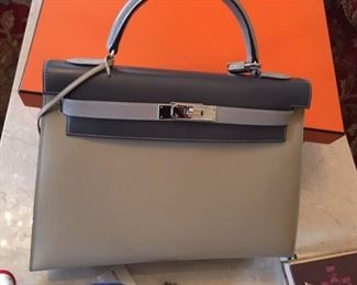 Hermes never used 2 tone Gray/beige special edition platinum series