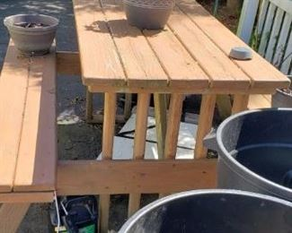 Solid wood table with bench