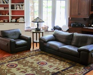Roche Bobois leather sofa and matching chair
