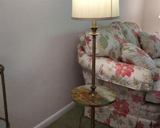 "BRASS FLOOR LAMP W/13"" MARBLE TABLE 55"" TALL"