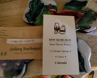 tags from handmade Colorado potter Don Kuhlman