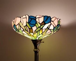 stained glass tall lamp in master bedroom