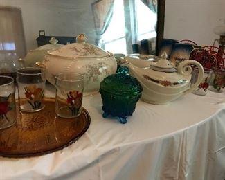 Hall Aladdin Blue Bouquet teapot and Jewel Tea Autum Leaf covered casserole bowl
