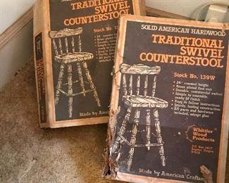 Look to be new in box...vintage wood bar/counter stools