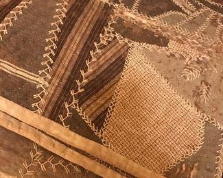 Vintage hand embroidered quilt