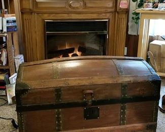The fireplace and trunk