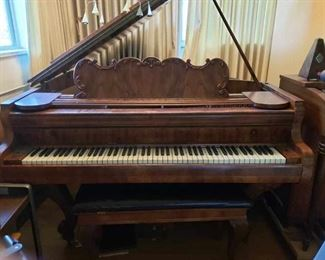 Steiger and sons burl wood baby grand piano