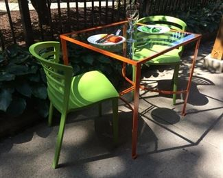 Metal Outdoor/Patio table c. 1950's, sandblasted and powdercoated.  Green side chairs from AllModern.  Will separate.