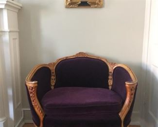 Adorable French Style settee, c. 1950's.  Reupholstered.