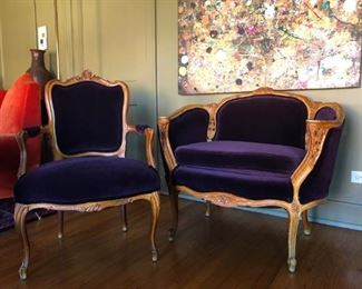 Sold as pair, French Style Louis XV, c. 1950.  Reupholstered.