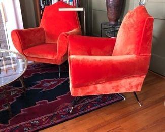 Gigi Radice for Minotti, c.1950's.  Reupholstered in orange citrus velvet 2018.