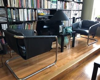 Pair Thonet original leather and chrome lounge chairs, new down to cushions, c. 1960's.