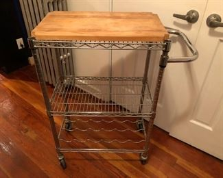 Crate and Barrel Kitchen Cart with Butcher Block.