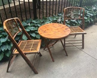 Bamboo and Ratan Folding Table and Chairs
