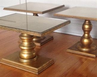 Vintage Gilded Side Tables c. 1960's.  New Glass