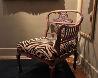 Antique Ladies Dressing Chair c. 1850.  Reupholstered.