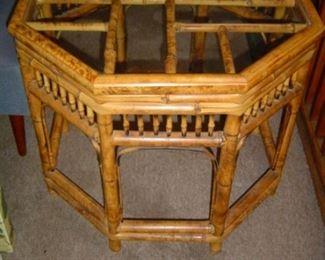 Very nice Bamboo Coffee Table with glass top.