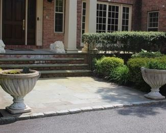 Pair of Marble Lions Outside and Cement Pots and 2 Benches