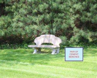 Pair of Cement Benches