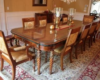 Henredon Dining Table with 10 Chairs and Glass Top.