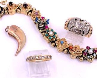 14K gold Victorian slide bracelet, diamons band, double eagle and diamond men's 14K gold ring, claw pendant