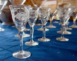 Etched liqueur glasses