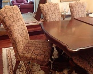 LARGE DINING TABLE WITH LEAVES & PADS & 6 CHAIRS