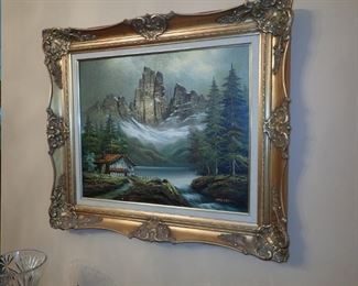 ORNATE GOLD FRAME WITH MOUNTAIN SCENE