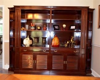 custom built mahogany shelf units (shown 2 of 3), all dovetailed/no nails