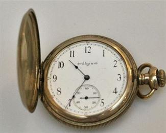 4. Antique ELGIN Gold Hunter Case Pocket Watch