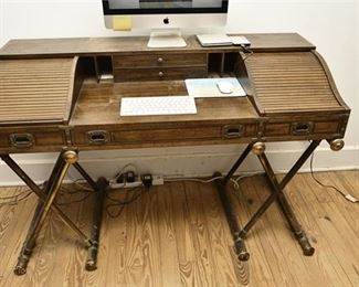 7. Mahogany Campaign Style Roll Top WritingOffice Desk