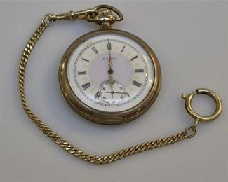 8. Antique Fancy Dial ELGIN Gold Pocket Watch
