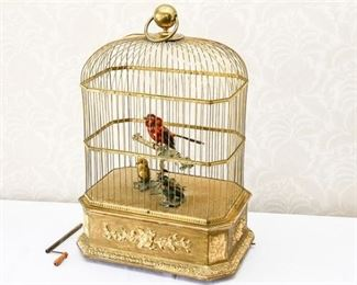 2. Rare French Gilt Wood and Metal MultiFigure Birdcage Automaton