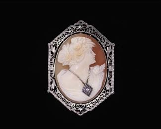 150. Antique Womens Sterling Silver Cameo BroochPin