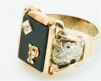 154. Fine Mens 10K Gold Ring wDiamond  Onyx