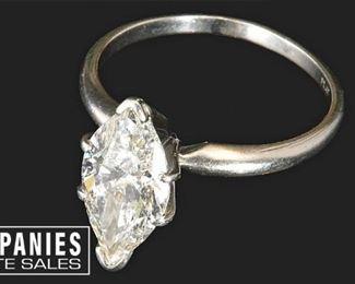 38.  3.24 Carat Marquise Diamond Ring in Platinum Setting