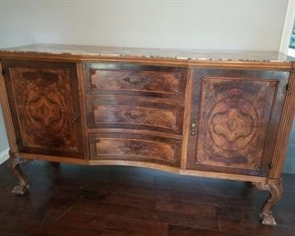 Beautiful Burlewood Buffet with marble top