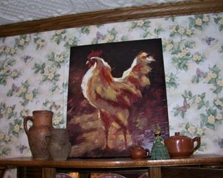 Oil painting (new) of rooster - plus olive jars