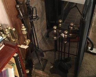 Fireplace tools & screen