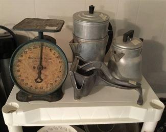Vintage scale & kitchen items