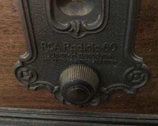 Label on vintage record player